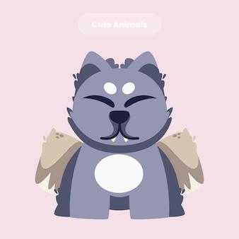 Illustrazione dell'icona di vettore del fumetto del gatto sveglio
