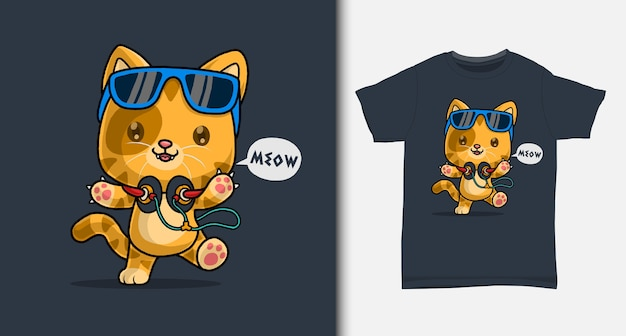 Cartone animato carino gatto. con design t-shirt.