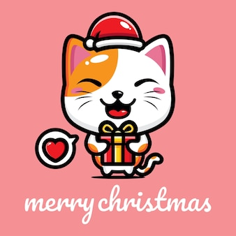 Simpatico gatto che festeggia il natale