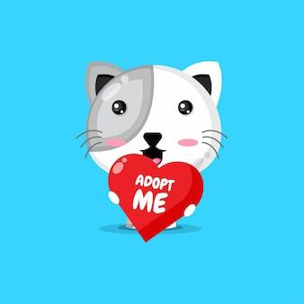 Carattere simpatico gatto che tiene un cuore