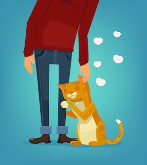 Il carattere sveglio del gatto abbraccia la sua illustrazione del proprietario