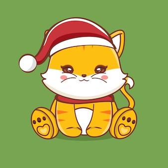 Illustrazione del personaggio simpatico gatto con auguri di buon natale vettore premium