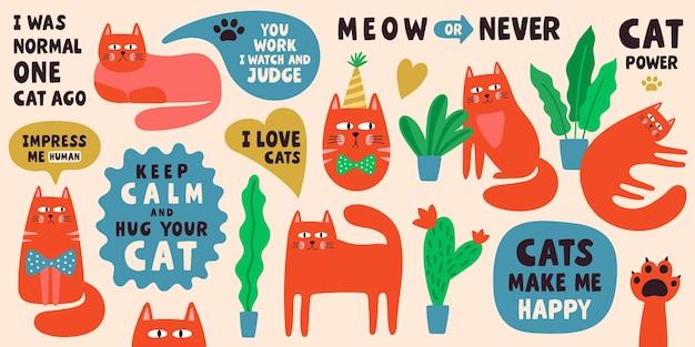 Collezione di simpatici personaggi di gatti con frasi scritte. insieme dell'illustrazione di scarabocchio