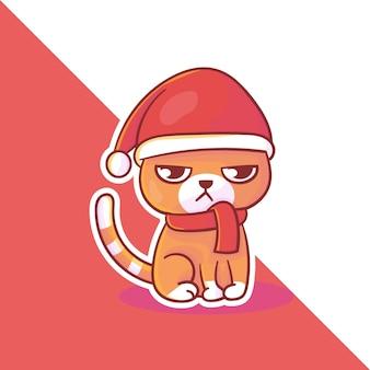 Simpatico logo della mascotte di natale del gatto