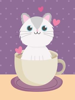 Gatto sveglio sull'illustrazione di vettore del fumetto della tazza di caffè