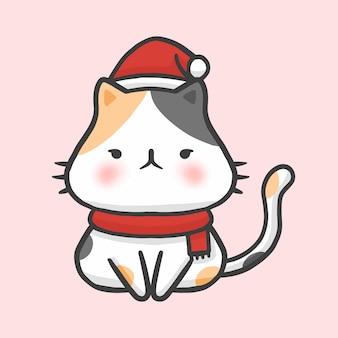 Vettore disegnato a mano di stile del fumetto di natale sveglio del costume del gatto
