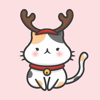 Stile disegnato a mano del fumetto di natale sveglio della renna del costume del gatto