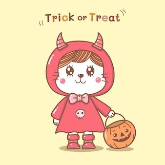 Gatto sveglio nel tiraggio della mano del fumetto del costume del diavolo per il giorno di halloween.