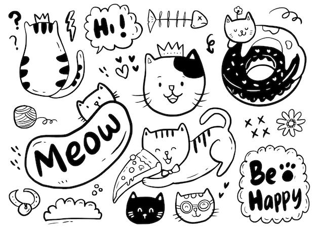 Doodle sveglio del gatto che gioca con la pizza