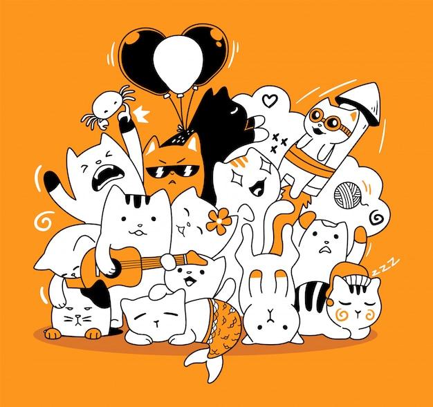 Doodle di gatto carino