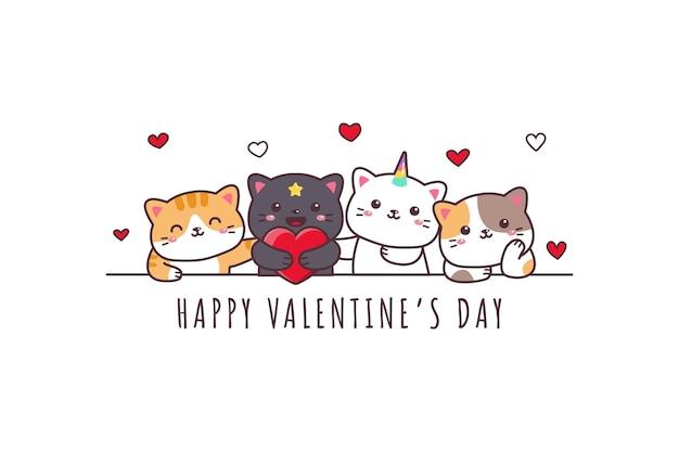 Gatto sveglio che disegna doodle felice di san valentino