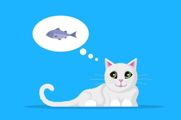 Simpatico gatto che sogna di pesce