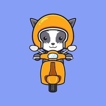 Gatto sveglio che guida l'illustrazione dell'icona del fumetto della vespa. design piatto isolato in stile cartone animato