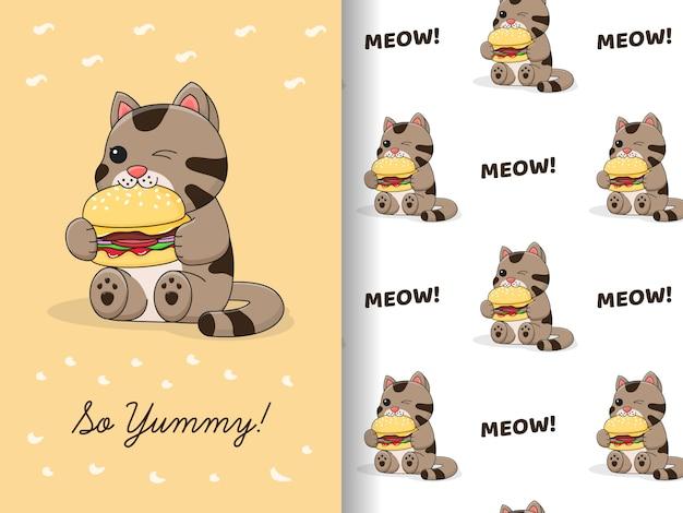 Il gatto sveglio mangia il modello e la carta del fascio dell'hamburger Vettore Premium