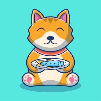 Cartoon carino gatto mangia pesce. concetto del fumetto dell'icona del gatto. illustrazione degli animali. stile cartone animato piatto
