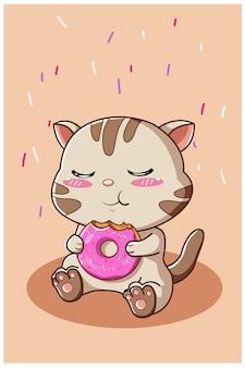 Simpatico gatto che mangia una ciambelle isolato su beige
