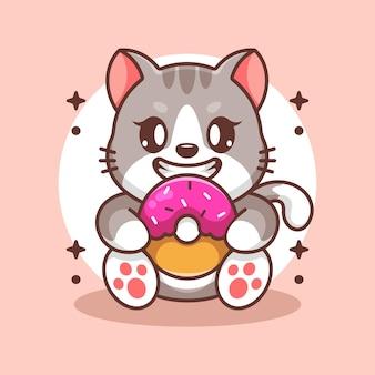 Cartone animato carino gatto che mangia ciambella