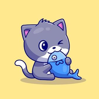Gatto sveglio che mangia l'illustrazione dell'icona di vettore del fumetto del pesce. concetto di icona di cibo animale isolato vettore premium. stile cartone animato piatto