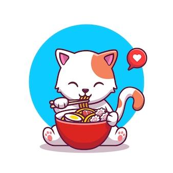 Gatto sveglio che mangia noodle con le bacchette icona del fumetto concetto di icona cibo animale isolato premium. stile cartone animato piatto