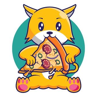 Simpatico gatto che mangia un pezzo di pizza cartoon design