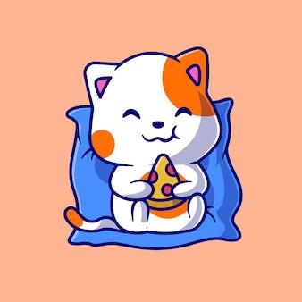 Gatto sveglio che mangia pizza sull'illustrazione dell'icona di vettore del fumetto del cuscino. concetto di icona di cibo animale isolato vettore premium. stile cartone animato piatto