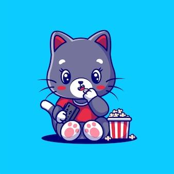 Gatto sveglio che mangia popcorn isolato sull'azzurro