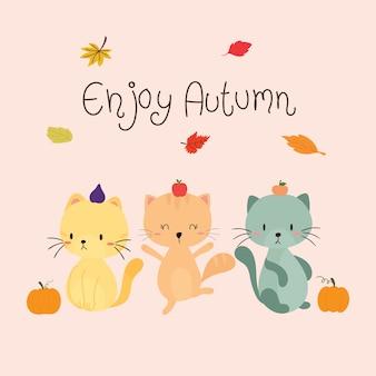 Gatto piacevole godere in autunno