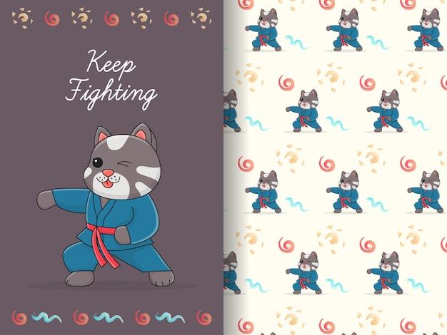 Modello e carta senza cuciture del fascio del combattente sveglio del gatto