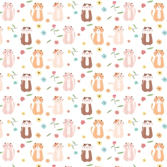 Cute cat and floral pattern background.