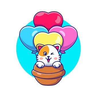 Gatto sveglio che vola con il fumetto del palloncino di amore