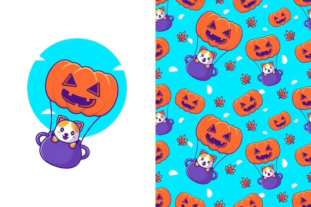 Simpatico gatto che vola con la zucca felice halloween con motivo senza cuciture