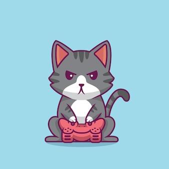 Illustrazione del fumetto di gioco del gatto sveglio