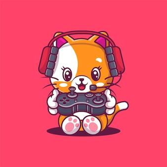Illustrazione di gioco del gatto carino. gioco di animali.