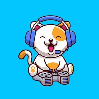 Gatto sveglio che gioca con l'illustrazione dell'icona del fumetto della console e della cuffia. animale gioco icona concetto isolato. stile cartone animato piatto