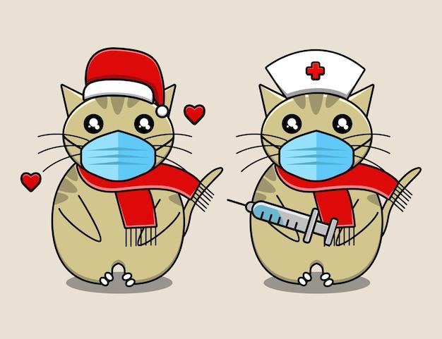 Simpatico gatto riceve un cartone animato di vaccinazione