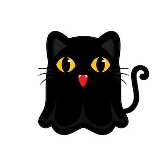 Simpatico disegno del personaggio del fantasma del gatto