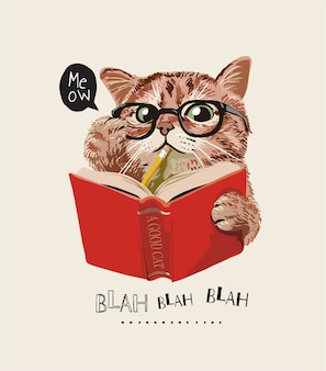 Simpatico gatto con gli occhiali leggendo un libro illustrazione