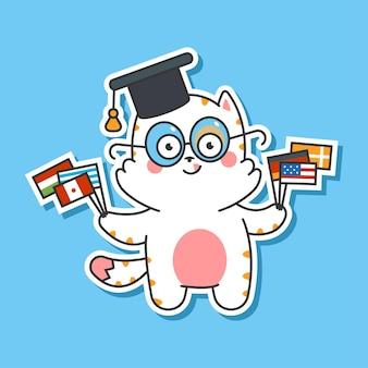 Simpatico gatto in berretto laureato con personaggio dei cartoni animati di vettore di bandiere isolato su priorità bassa. illustrazione del concetto di apprendimento delle lingue.