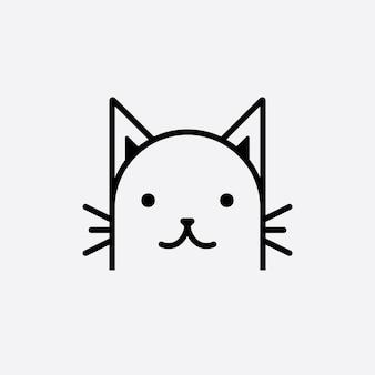 Testa di gatto carino logo cartone animato testa di gatto buono per i prodotti correlati alla cura del gatto