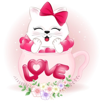 Gatto e cuori svegli nel concetto di san valentino della tazza