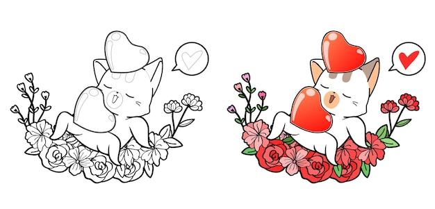 Simpatico gatto e cuori con la corona per la pagina da colorare del fumetto di san valentino