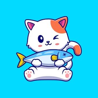 Illustrazione sveglia dell'icona di vettore del fumetto del pesce della tenuta del gatto. concetto di icona di cibo animale isolato vettore premium. stile cartone animato piatto