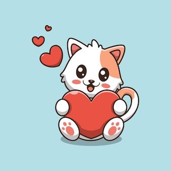 Simpatico gatto che tiene una forma di cuore rosso