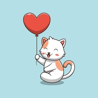 Gatto sveglio che tiene un'illustrazione del fumetto del pallone di amore