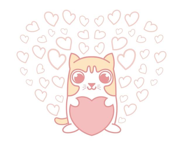 Gatto sveglio che tiene cuore rosa con un gruppo di piccoli cuori isolati. concetto di amore per san valentino.