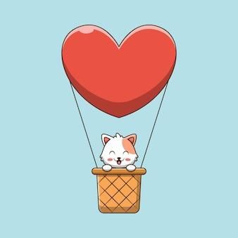 Gatto sveglio sull'illustrazione del fumetto dell'aerostato di aria calda