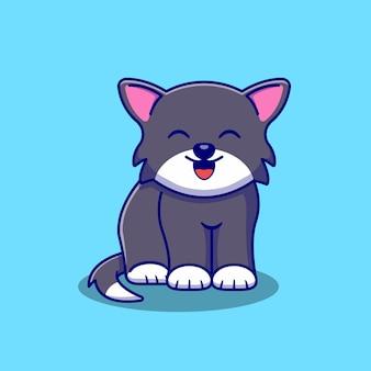 Disegno di illustrazione di gatto carino seduto e sorridente