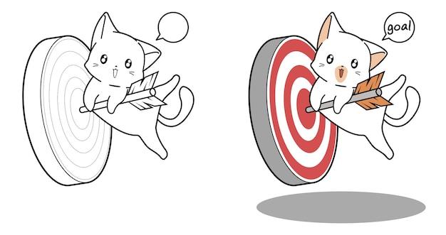 Simpatico gatto sta appendendo la freccia cartone animato facilmente pagina da colorare per bambini