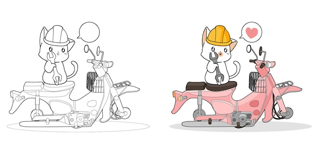 Il gatto sveglio sta riparando una pagina da colorare dei cartoni animati di moto