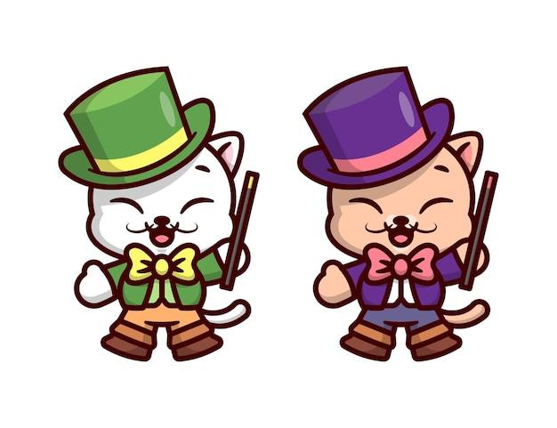 Il gatto sveglio indossa abiti da magico e tiene un bastone da magico in opzione a due colori disegno della mascotte del fumetto di alta qualità